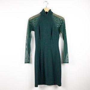 Lillie Rubin Vintage Green Bodycon Dress Size M